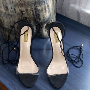 Black Heels with Clear Front Strap ✨Brand New✨